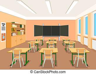 vacío, ilustración, vector, aula