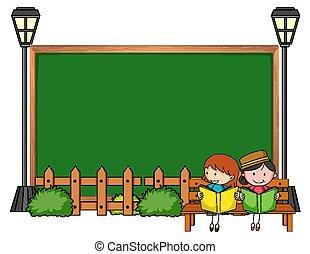 vacío, niños, caricatura, garabato, pizarra, carácter, aislado, muchos