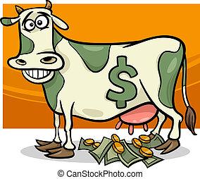 Vaca de Cash diciendo ilustraciones de dibujos animados