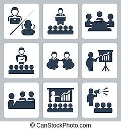 vector, conferencia, conjunto, reunión, iconos
