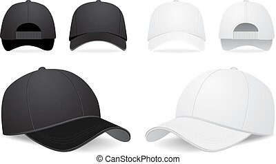 vector, conjunto, gorra, beisball