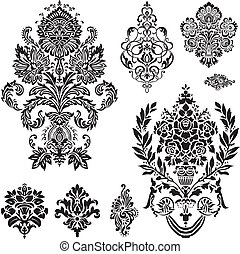 vector, conjunto, ornamento, damasco