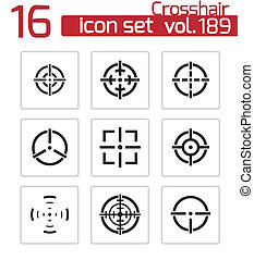 vector, conjunto, retículo, balck, iconos