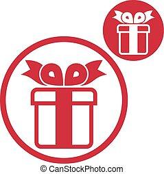 Vector de caja de regalos simple icono de color aislado en la espalda blanca