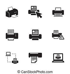 vector, impresora, conjunto, balck, iconos