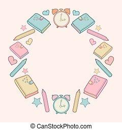 Vector lindo marco de diseño escolar con diario, despertador, lápices de colores, arco, corazón, estrella.