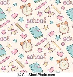 Vector lindo patrón escolar con diario, despertador, lápices de colores, arco, corazón, estrella. Lindos antecedentes escolares.