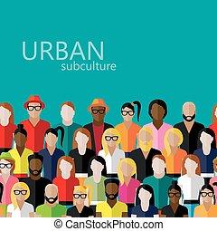 vector, miembros, sociedad, plano, grupo, ilustración, grande