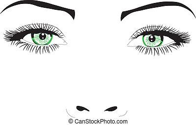 vector, ojos, cara, mujer, ilustración
