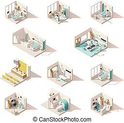 vector, poly, cuartos, bajo, hospital, isométrico