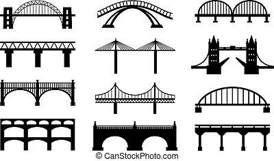Vector puentes siluetas iconos