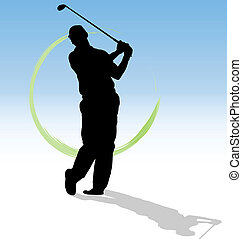 Vector silueta de golfista con rastros verdes de fondo azul.