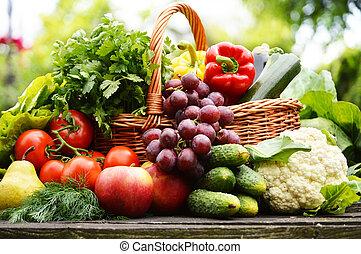 Vegetales orgánicos frescos en la canasta de mimbre del jardín