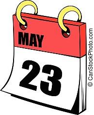 Veintitrés de mayo en dibujos de iconos del calendario