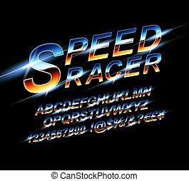 velocidad, alfabeto, font.
