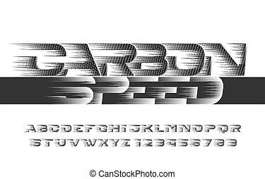 velocidad, carbón, font., alfabeto