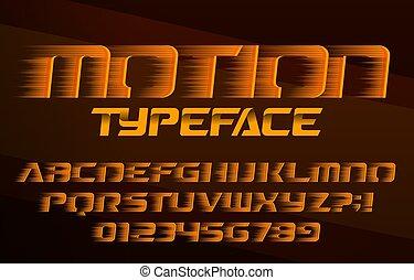 velocidad, movimiento, alfabeto, font., rápido, cartas, numbers., efecto
