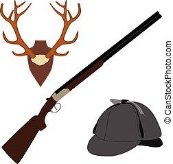 venado, sombrero, rifle, cuernos