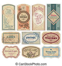 vendimia, etiquetas, conjunto, (vector)