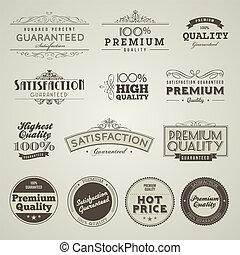 vendimia, etiquetas, prima, calidad