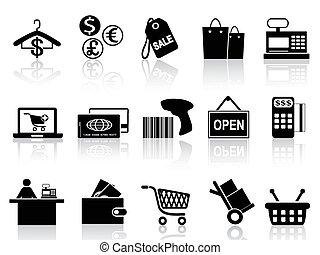 Ventas negras y iconos de compras