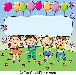 verano, asimiento, bandera, niños, blanco
