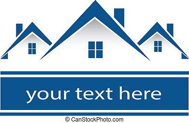 verdadero, casas, logotipo, propiedad