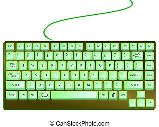 verde, brillante, teclado