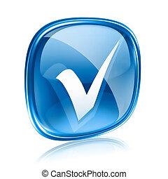 Verifique el icono azul, aislado en el fondo blanco.