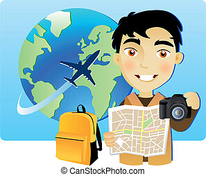 viajar, joven, mundo, alrededor