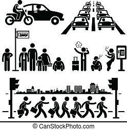vida de la ciudad, ocupado, pictogram