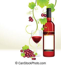vidrio, uva, botella, vino