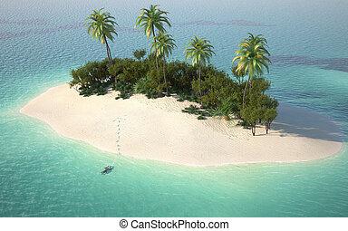 Vista aérea de la isla desierta caribbeanl