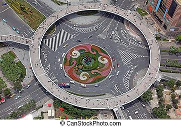 Vista aérea del cruce en Shanghai, China