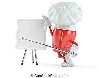 whiteboard, blanco, carácter, paprika